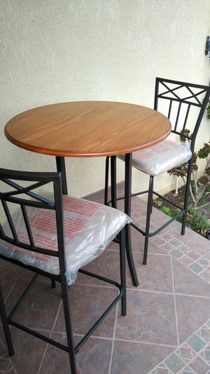 New 3 piece Rustic Oak Steel Pub Bar Table and chair Set for Sale in Gardena, CA