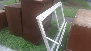 Free bedroom set, bed frame 4 dressers and mirror. Also solid storm door for Sale in Columbus, OH