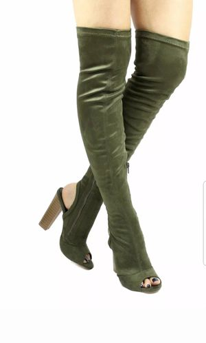 shoe republic Kris open toe cut out over the knee thigh high chunky heel boots for Sale in New York, NY