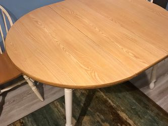 Solid wood table with leaf and three chairs for Sale in Westlake,  OH
