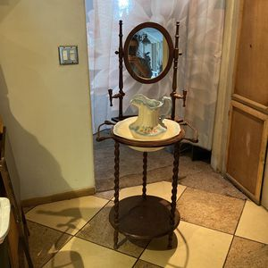 Washstand Pitcher Wash Basin Mirror Candle Holders Antique style for Sale in Riverside, CA