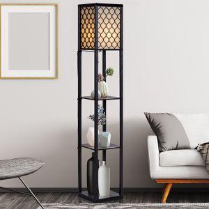Modern Grid Shade Floor Lamp w/ 3 Storage Shelves for Sale in Wildomar, CA