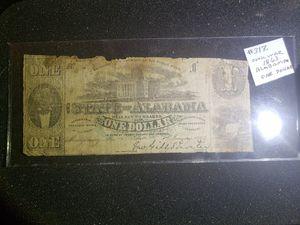 1863 Alabama Civil War One Dollar for Sale in Wardsville, MO