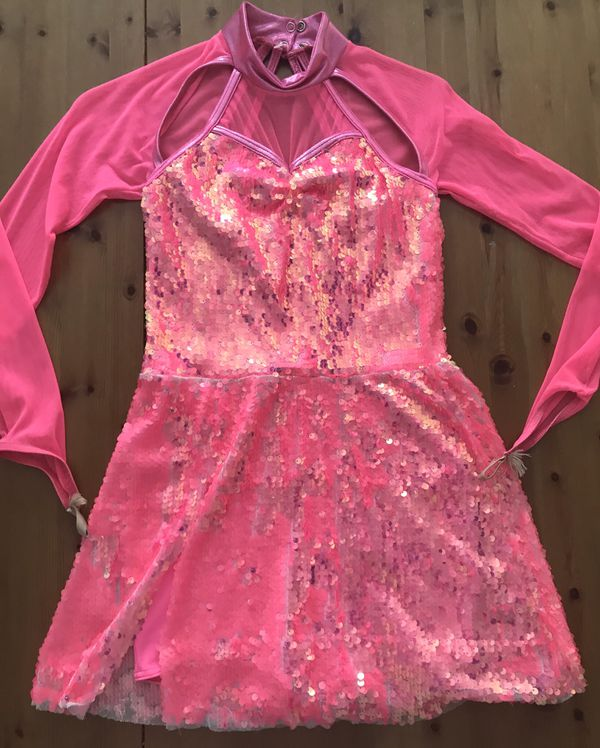 Girls Disco Dance Gymnasts SEQUIN PERFORMANCE Costume TUNIC DRESS Girls Size L 10/12