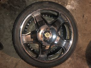 "24"" black and chrome wheels rims and tires. 6 lug came off of a Chevy Tahoe for Sale in Kansas City, KS"