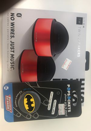 HypeTwin speakers and a justice league pop socket for Sale in Quincy, IL