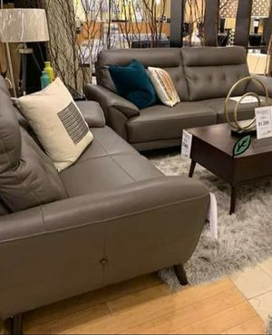 Free Delivery 🐋  BEST Deal 🐋 Sissoko Gray Leather Living Room Set 174 for Sale in Houston, TX