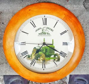 "John Deere moline Illinois green tractor 11"" D quartz wall clock with new AA battery! for Sale in Saginaw, MI"