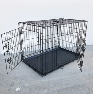 "(NEW) $45 Folding 36"" Dog Cage 2-Door Pet Crate Kennel w/ Tray 36""x23""x25"" for Sale in South El Monte, CA"