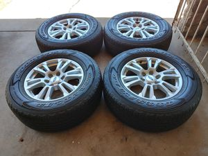 275 65 18 good set tires with rims Ford f150 expedition 6 lugs tires good year wrangler used for Sale in Phoenix, AZ