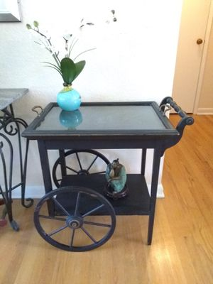 VINTAGE • WAGON WHEEL TABLE / CART with Serving Tray & 1 Drawer • BEAUTIFUL CONDITION for Sale in SeaTac, WA