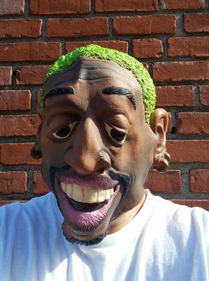 Dennis Rodman Green Hair Mask Halloween Latex NBA Bulls Lakers Jordan The Worm for Sale in San Fernando, CA
