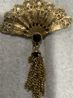 Vintage Fan Asian Filigree Tassel Brooch / Pin W Onyx CZ for Sale in Somerville,  MA