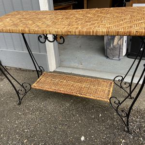 Wicker Sofa Table With Iron Accents for Sale in Sammamish, WA