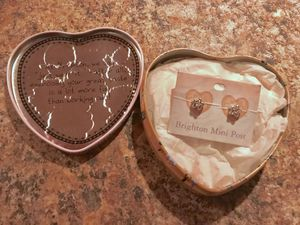 BRAND NEW ** STERLING SILVER BRIGHTON STAR DIAMOND STUDD EARRINGS IN HEART-SHAPED BRIGHTON KEEPSAKE TIN BOX for Sale in Colorado Springs, CO
