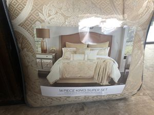 14 pc king super set 100% cotton sheet set included for Sale in Garland, TX