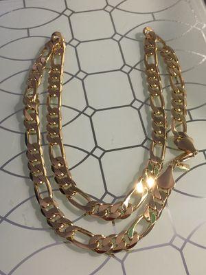 "18k GPL Men's Figaro Chain Necklace 22"" 9mm for Sale in Nashville, TN"