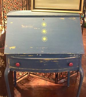 Antique secretary desk refinished in blue with yellow boho accents for Sale in San Diego, CA