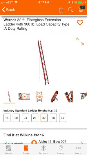 Werner 32 ft fiberglass extension ladder for Sale in Pittsburgh, PA