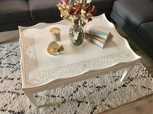 White stenciled coffee table by Young House Love for Sale in Peoria, AZ