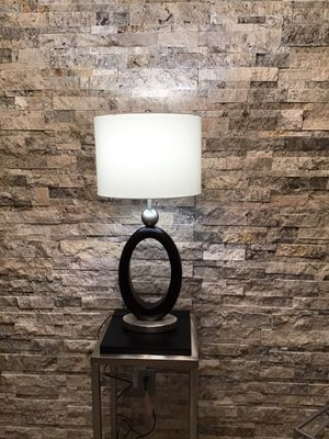Unique Large Table Lamp, Brushed Nickels with Dark Wood Base, White Linen Shade for Sale in Bellevue, WA