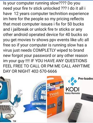Computer or fire tv stick help for Sale in Lincoln, NE