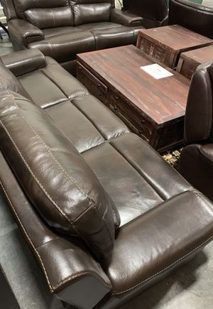 $650 used condition 2 pcs leather recliner chair brown color with slight signs of wear and tear retails for over $3000 for Sale in El Monte, CA