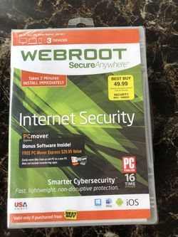Webroot secure anywhere, internet security, smarter cyber security for Sale in Glenshaw,  PA