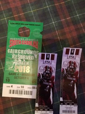 2 Gamecocks tickets with Fairground parking pass also stadium seats pre-placed in seating location row 9 sec22 for Sale in Columbia, SC