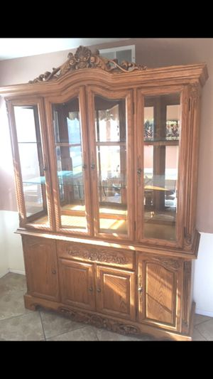 China Hutch Cabinet Solid Oak for Sale in Lancaster, CA