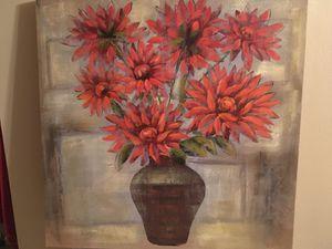 "Large 30"" x 30"" Canvas Still Life of Reddish Orange Dahlias / Flowers in a Vase for Sale in Sun City, AZ"