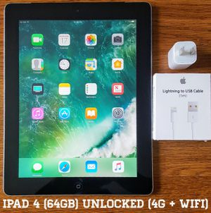 "Ipad 4th Gen 9.7"" (64GB) Factory-UNLOCKED (4G + Wifi) for Sale in Arlington, VA"