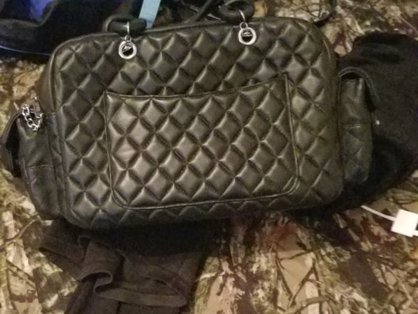 vintage chanel double pocket quilted tote bag