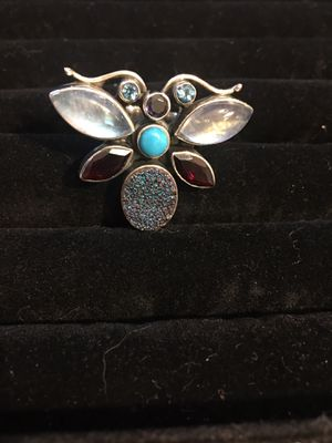 Women's sterling silver (stamped 925) semi precious stone ring. Size 7/8 for Sale in Portland, OR