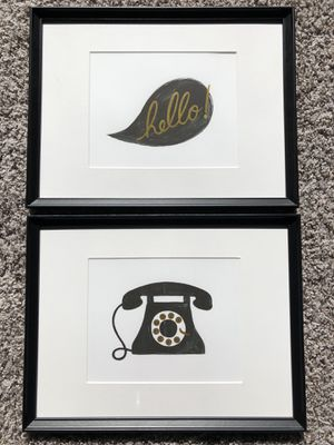 Framed black & white Art Sketch Telephone Hello Set of 2 for Sale in Smithville, MO