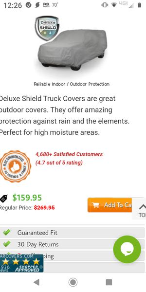 Crew cab long bed truck cover for Sale in Virginia Beach, VA
