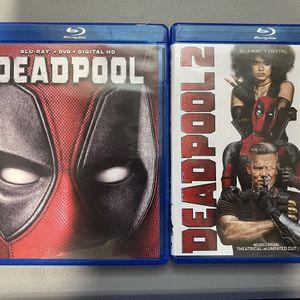 Deadpool (Deadpool - Blu Ray And DVD, Deadpool 2 - 2 Blu Rays, 2016/2018) for Sale in Adelanto, CA