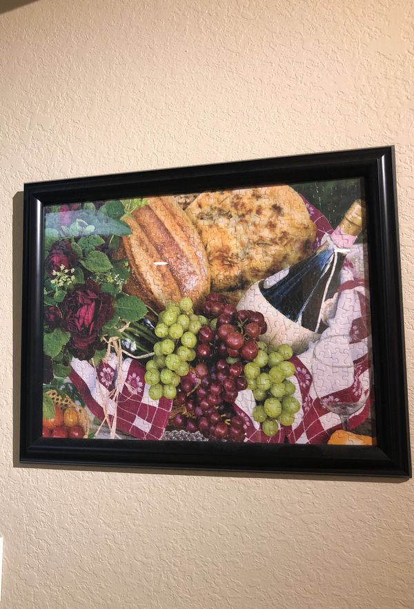 Wine and cheese framed puzzle