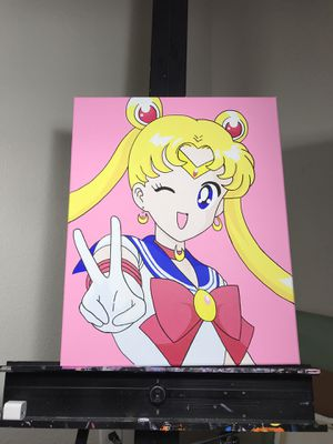 Sailor Moon Custom Painting Canvas Anime Figure Manga Comic Decor for Sale in Houston, TX