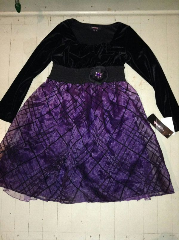 ac0dd1a53 Girls size 12 long sleeve purple and black dress new with tags for Sale ...