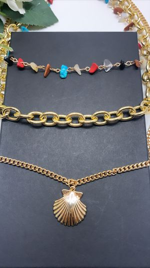 Bohemian Gold Plated Shell Charms Three Multi-layer Necklace Set for Sale in Irvine, CA
