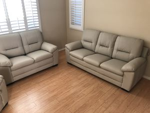 Only $50 Down! New Couch / Love Seat. Ivory Leatherette. Free Delivery! for Sale in Ontario, CA