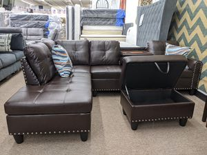 Brand New 3pc, Brown sectional, available in red or black for Sale in Berwyn Heights, MD