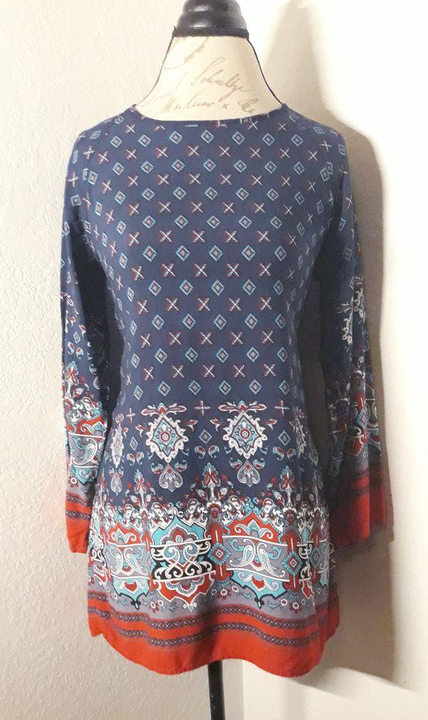 Blue Printed Lose Long Sleeve Fit Mini Dress Sz Medium
