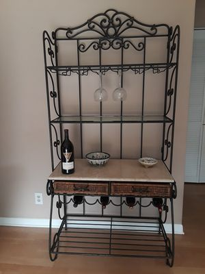 Bakers Rack with Wine Bottle and Wine Glass Holders and 2 Drawers for Sale in Boca Raton, FL