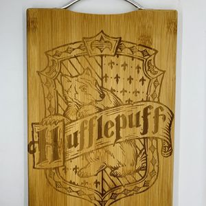 Harry potter hufflepuff laser engraved bamboo high quality cuttingboard kitchen pop for Sale in Los Angeles, CA