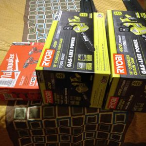 Two Ryobi 40v Chainsaw And A Milwawke Drill Set for Sale in Seaford, NY