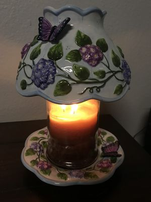 Salt City Candle Shade and Matching Plate w/ Purple Floral + Butterfly Design for Sale in MONARCH BAY, CA