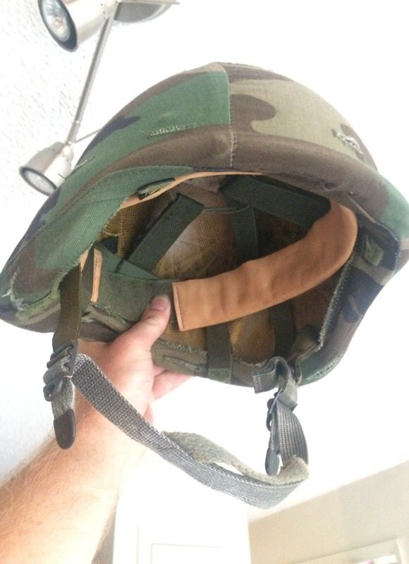 Helmet with cover and webbing    Kevlar Helmet Army Military for Sale in  Killeen, TX - OfferUp