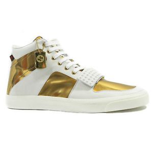 GUCCI 376195 Men's Limited Edition High Top Sneaker, White/Gold for Sale in Santa Monica, CA